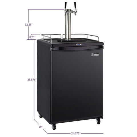 Kegco KOM163B-2 Dual Faucet Commercial Grade Digital Kombucharator - Black Cabinet with Black Door