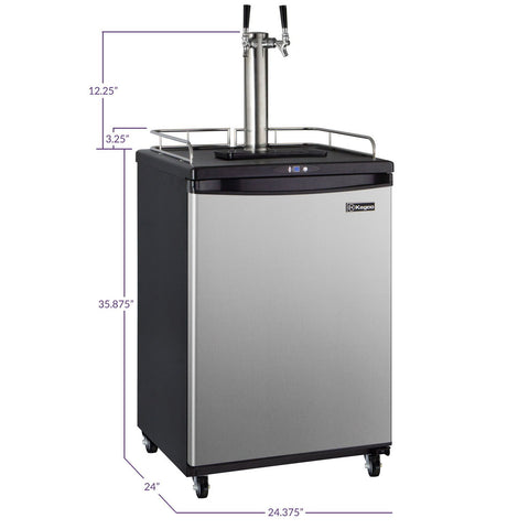 Kegco KOM163S-2NK Two Faucet Commercial Grade Digital Kombucha Kegerator - Black Cabinet with Stainless Steel Door