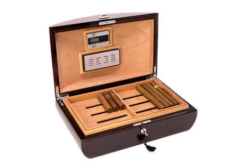 Bey-Berk Lacquered Ebony Wood Desktop Humidor C418 - front open view photo