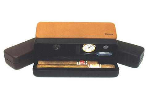 Csonka Cigar Pocket Travel Humidor with Accessories & Tan Padded Case GSPTA-TAN - photo of open case with cigars
