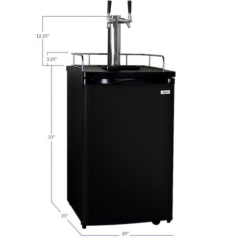 Kegco K199B-2NK Double Keg Tap Faucet Kegerator with Black Cabinet and Door