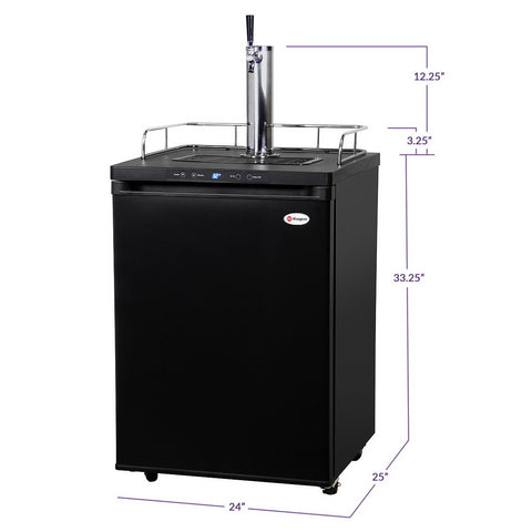 Kegco K309B-1NK Single Tap Beer Faucet Keg Dispenser with Digital Control - Black Cabinet with Matte Black Door