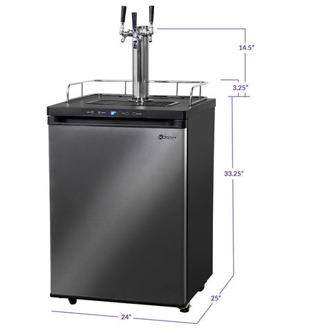 Kegco KOM30X-3NK Three Faucet Digital Kombucha Dispense System - Black Matte Cabinet and Black Stainless Steel Door
