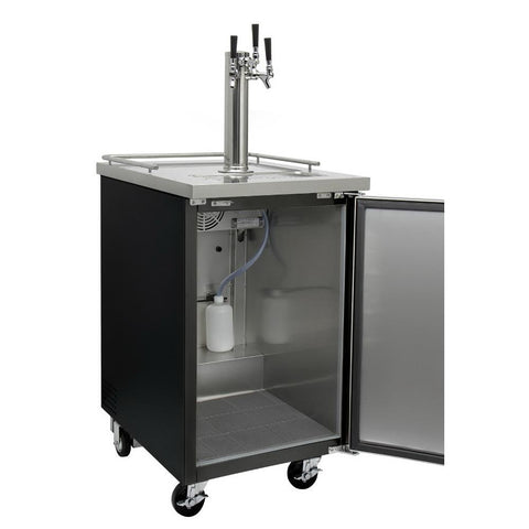 Kegco KOMC1B-3 Three Tap Commercial Kombucharator Kombucha Keg Dispenser - Black