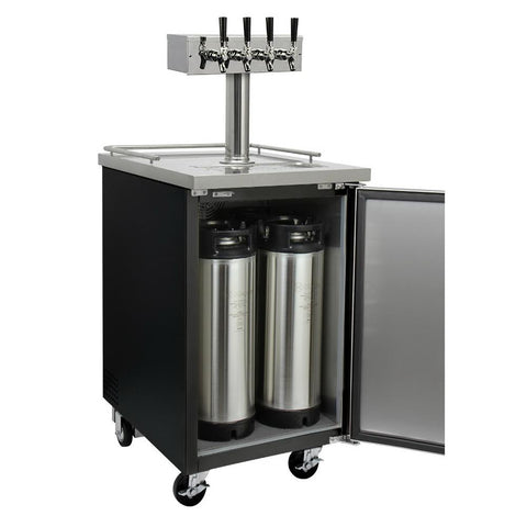 Kegco KOMC1B-4 Four Tap Commercial Kombucharator Kombucha Keg Dispenser - Black