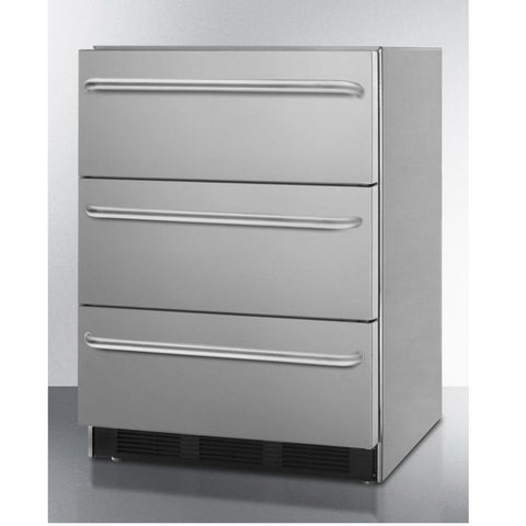 "Summit SP6DSSTB7ADA 24"" Wide Three-drawer All-refrigerator"