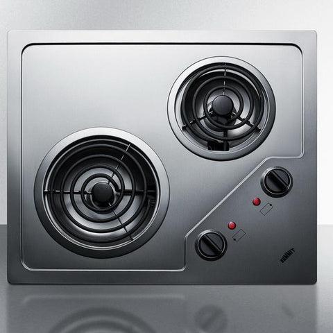 Summit CR2B224S Stainless Steel Electric Cooktop