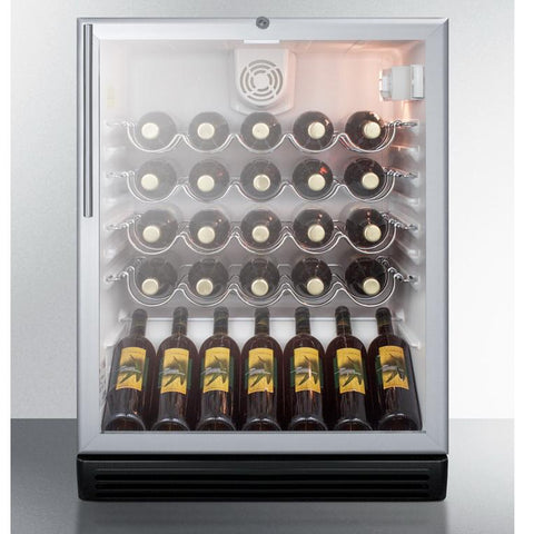 Summit SWC6GBLBIHVADA Safe Storage with Elegant Display Wine Cellar
