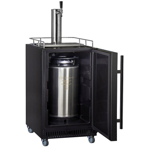 "Kegco SLK15BBRNK  15"" Wide Single Tap Black Commercial Kegerator"