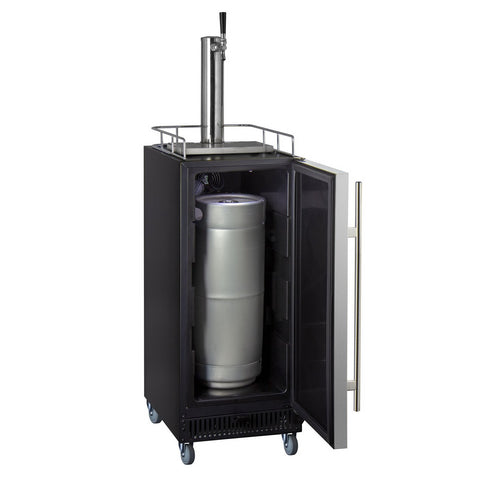 "Kegco SLK15BSR Commercial Grade Single Tap 15"" Wide Kegerator with Stainless Steel Door"