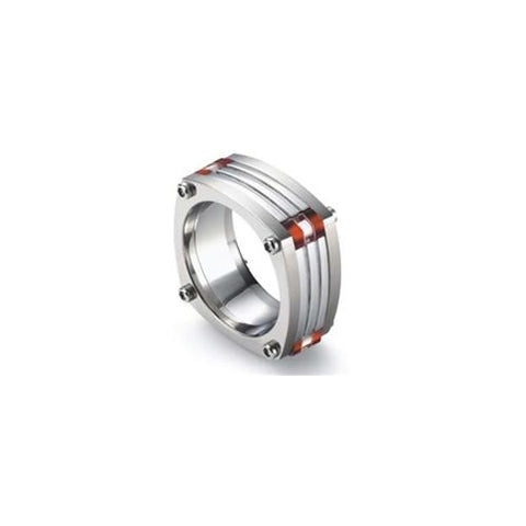 Tonino Lamborghini, Tonino Lamborghini Corsa Titanium and Stainless Steel Ring - Red, Tonino Ring - Humidor Enthusiast