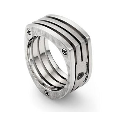 Tonino Lamborghini, Tonino Lamborghini Corsa Titanium and Stainless Steel Ring, Tonino Ring - Humidor Enthusiast