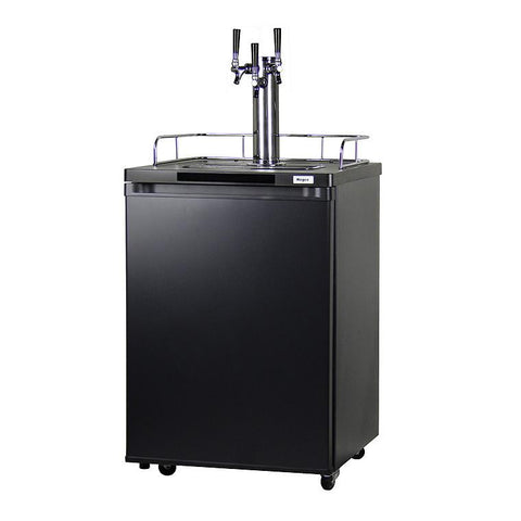 Kegco K209B-3NK Triple Keg Tap Faucet Draft Beer Dispenser Kegerator - Black Cabinet with Matte Black Door