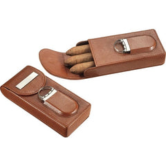 Visol Caldwell Brown Leather Cigar Case with Cigar Cutter - Humidor Enthusiast