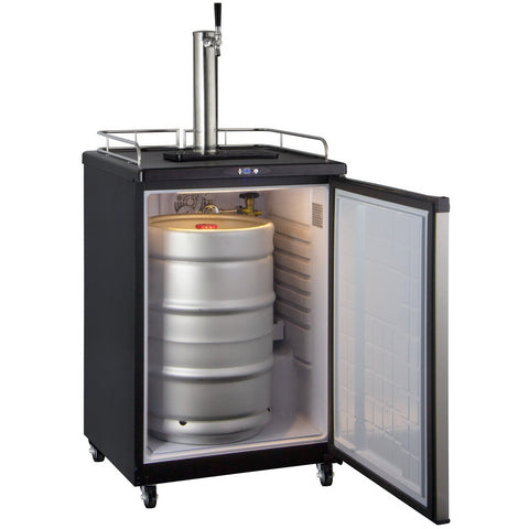 Kegco KOM163S-1NK Commercial Grade Digital Kombucha Dispenser - Black Cabinet with Stainless Steel Door