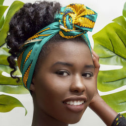 Naya  - Small African Print Headband (Green)