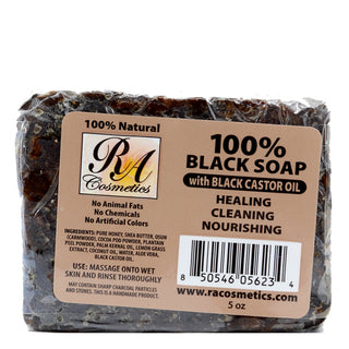 RA COSMETICS - 100% Natural Black Soap with Black Castor oil