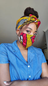 Kika Curls - African Print Face Mask and Headband Bundle