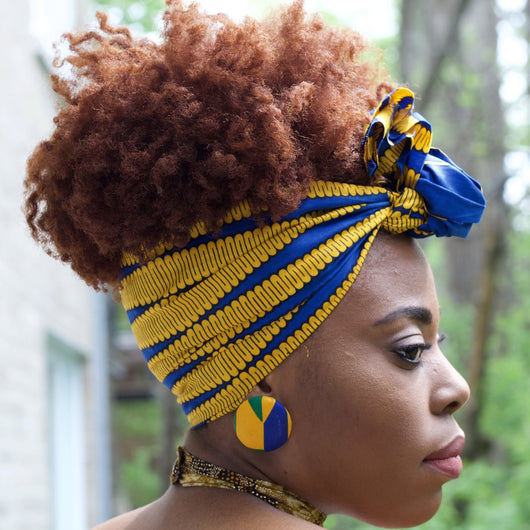Naya  - Small African Print Headband(Blue)