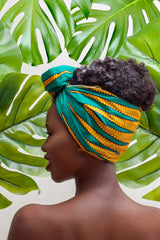 Naya  - Small African Print Headwrap (Green)