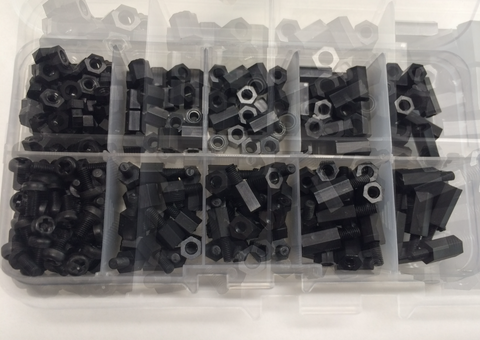 300pcs M3 Nylon Black Hex Kit