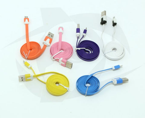 3' Flat USB Cable - USB A to Micro B (Yellow)