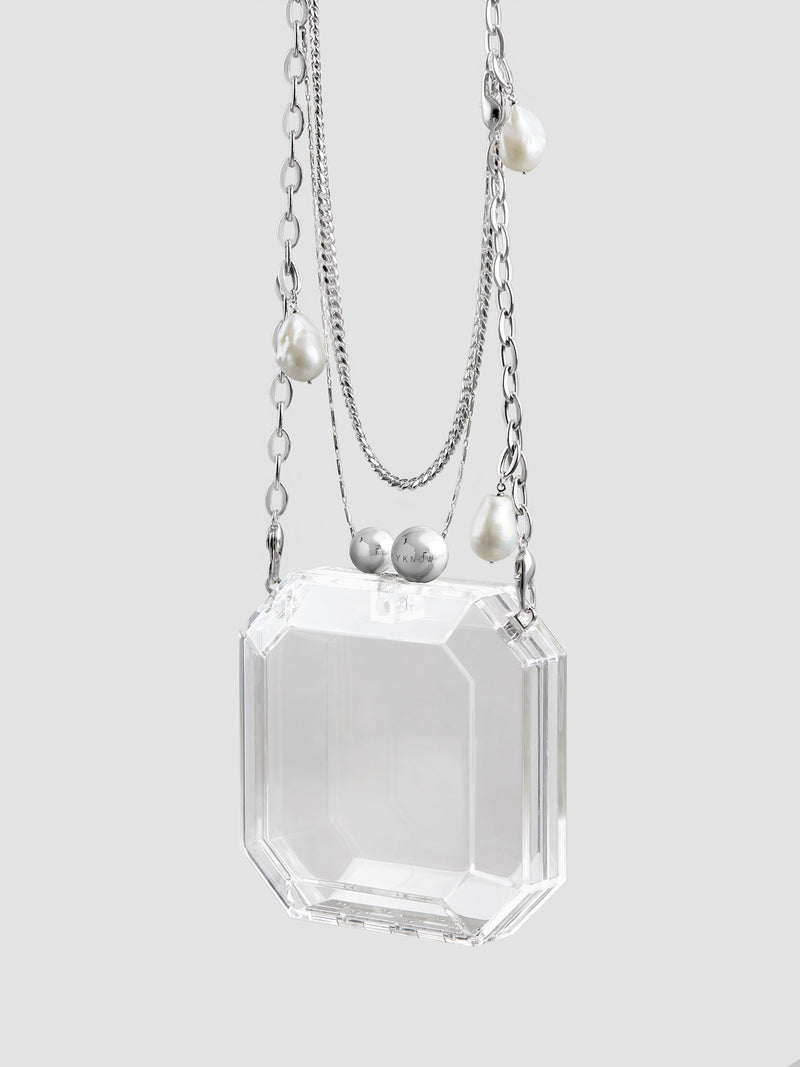 Clear Acrylic Box Bag with Pearl Chain