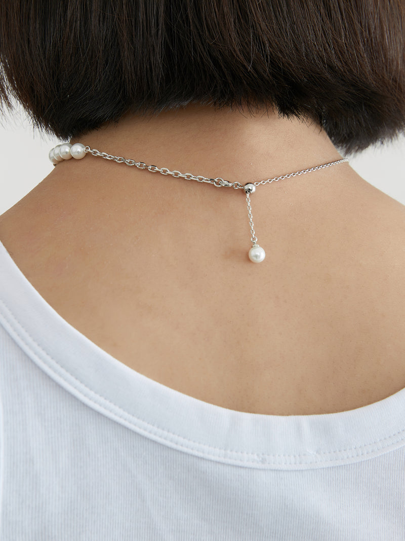 Pearl Chain Stitching Necklace