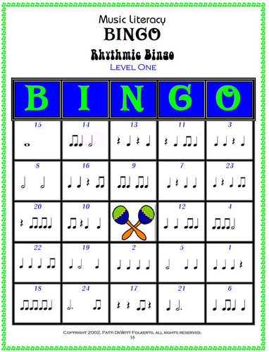 Rhythmic Music Literacy Bingo