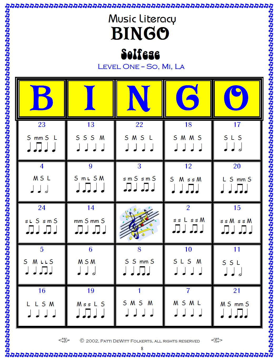 Solfege Music Literacy Bingo Level 1