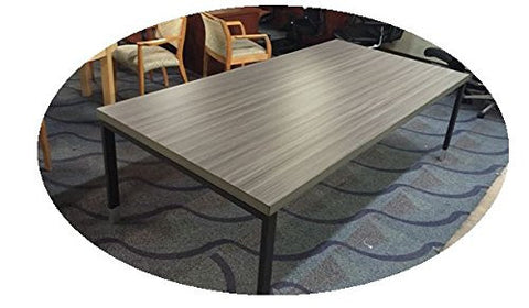 "Tudor Conference  table -  ELM-GRAY 8 ft by 4ft table 2"" thick with a steel base"