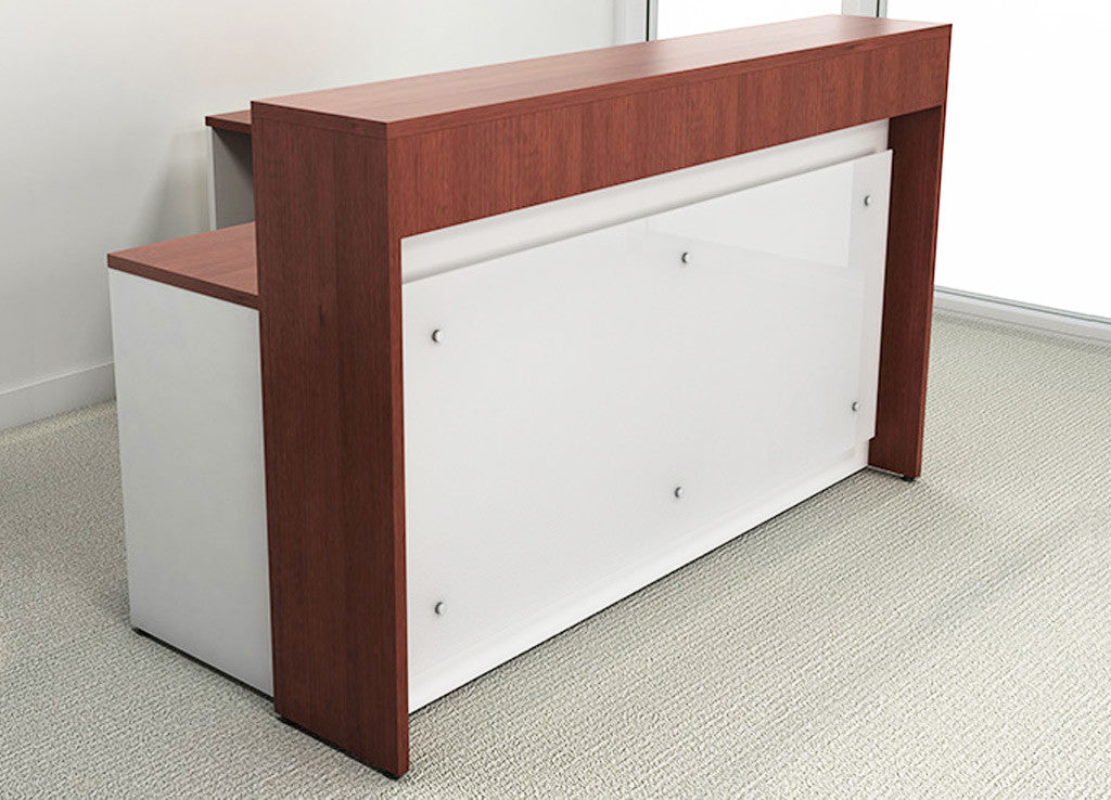 Acrylic reception front l shape shell desks dfs designs for Desks for small areas