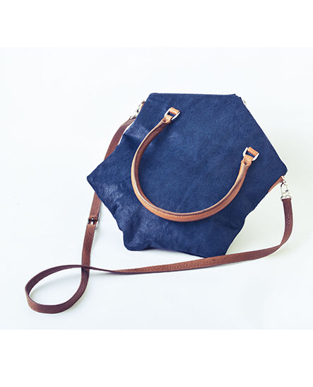 SATCHEL IN NAVY PONY - Ruti Horn, #THEHEX COLLECTION