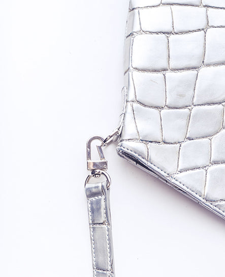 CROSSBODY SILVER CROCO - Ruti Horn, #THEHEX COLLECTION