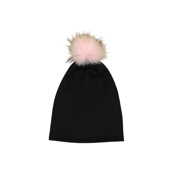 CLASSIC COTTON T BEANIE WITH RACCOON FUR POM - Ruti Horn, HAIR ACCESSORIES
