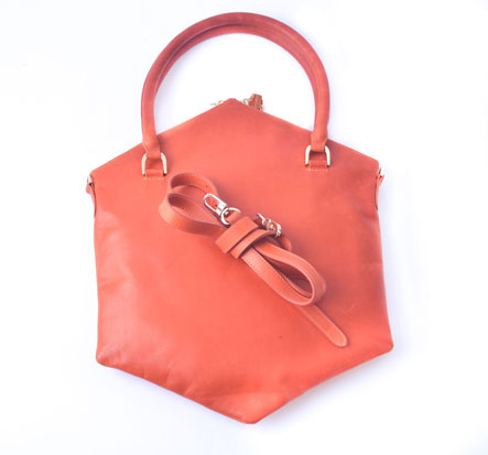 SATCHEL IN ORANGE LEATHER - Ruti Horn, #THEHEX COLLECTION