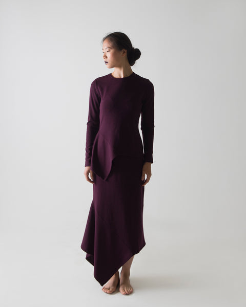 PLUM BLEND ASYMMETRICAL SKIRT SET - Ruti Horn, Apparel