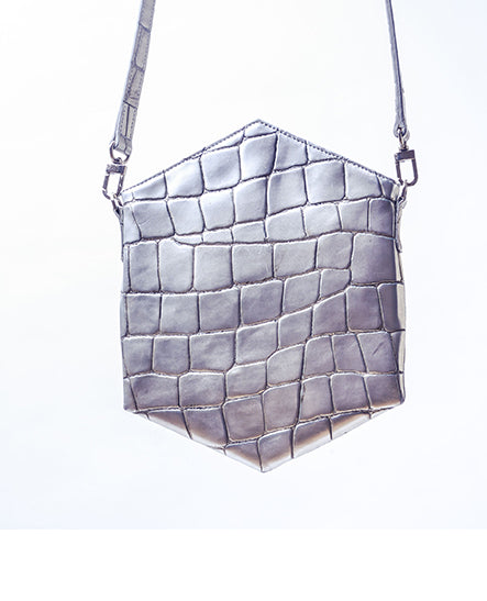 CROSSBODY SILVER CROCO