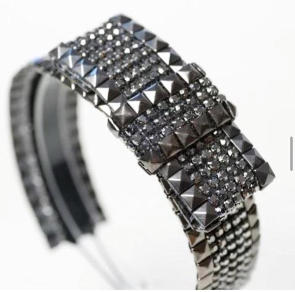 STUDDED GUNMETAL RHINESTONE BAND