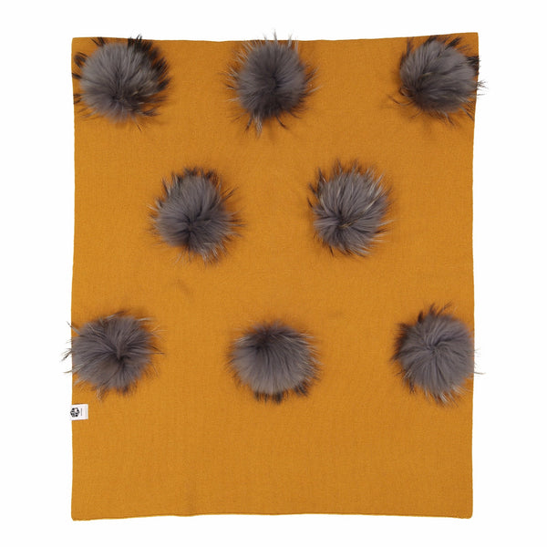HALF KNIT CASHMERE OVERLAY WITH 8 DETACHABLE RACCOON FUR POMS - Ruti Horn, BABY