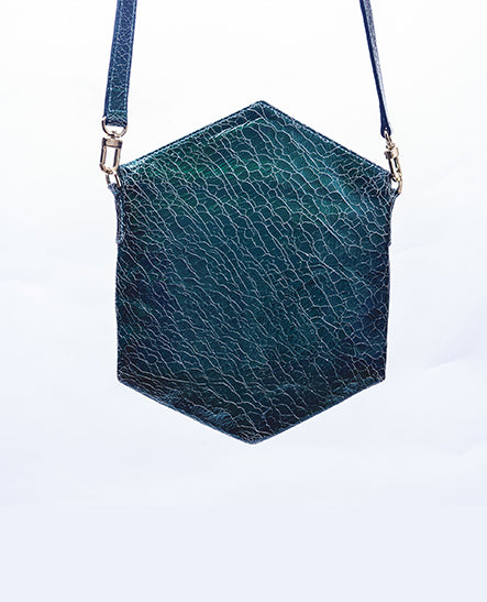 CROSSBODY EMERALD CRACKLE - Ruti Horn, #THEHEX COLLECTION