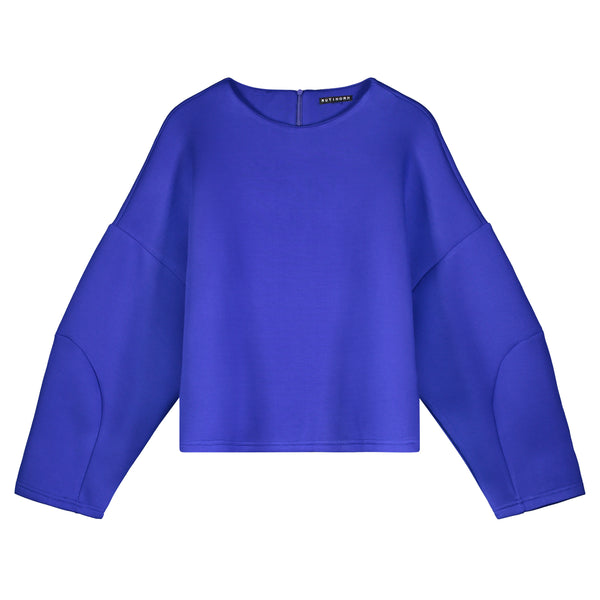 COBALT BLUE OVERSIZED STRUCTURED CROP TOP - Ruti Horn, Apparel