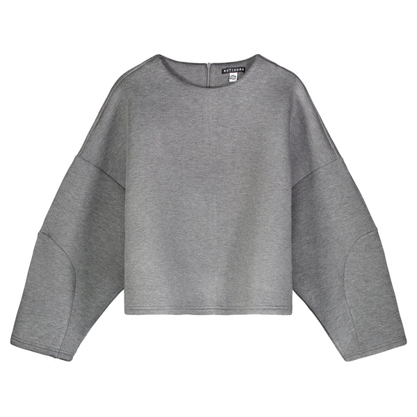 CHARCOAL GRAY OVERSIZED STRUCTURED CROP TOP - Ruti Horn, Apparel