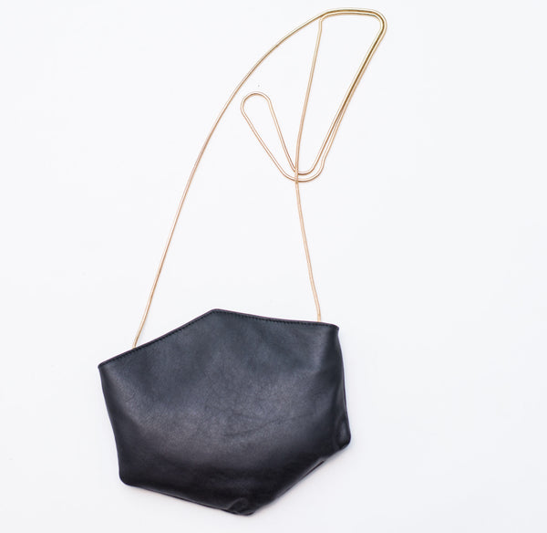 BLACK LEATHER CONVERTIBLE BELT BAG - Ruti Horn, #THEHEX COLLECTION