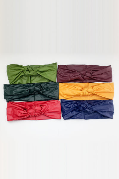 VEGAN LEATHER BRAIDED KNOT HAIRBAND