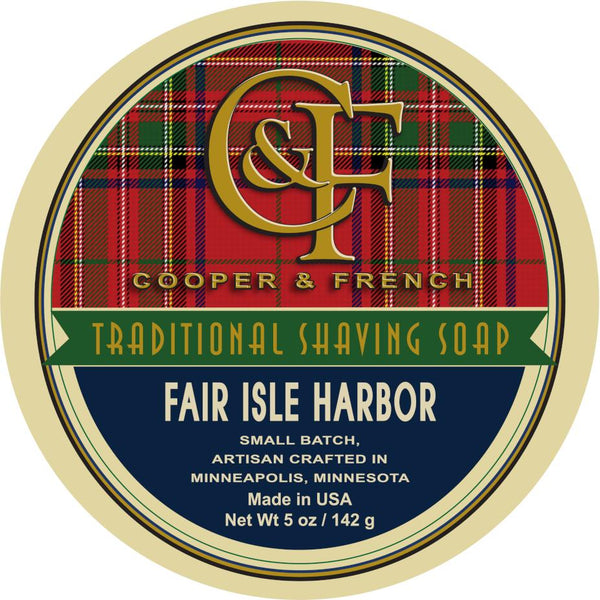 "Cooper and French Shave Soap ""Fair Isle Harbor"""