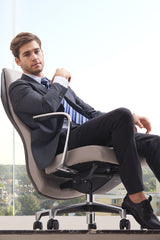 Totter Executive Leather Swivel Office Chair (Two-Toned Grey)