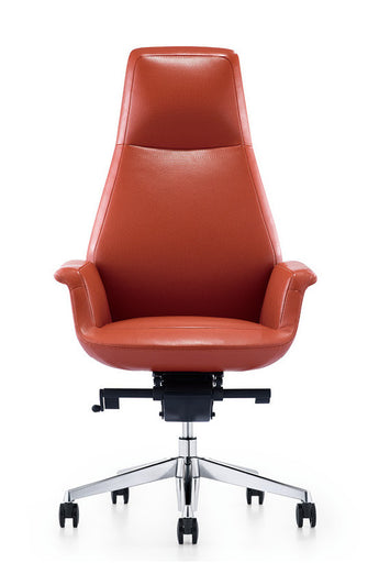 Pagoda Leather Swivel Office Chair Red