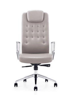 Wallis Executive Leather Swivel Office Chair (Grey)