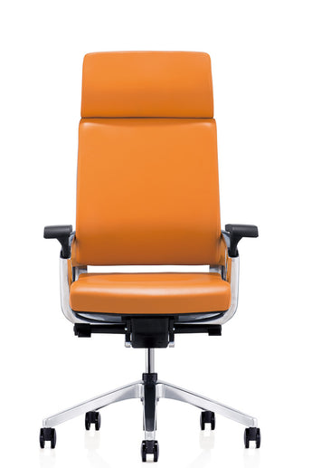 Orange Executive Leather Swivel Office Chair